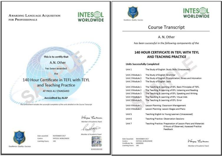 140 hour Certificate in TEFL with Online Teaching Practice - INTESOL ...