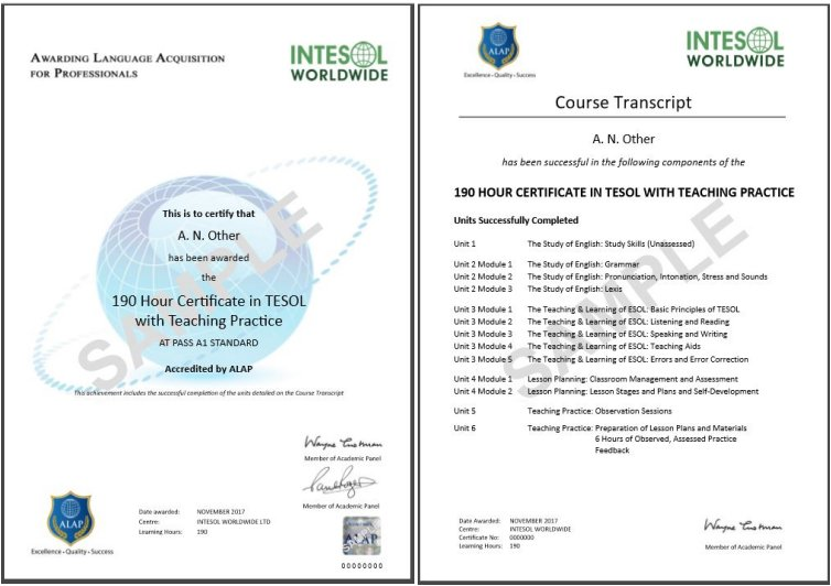150 190 Hour Tesol Courses Intesol Tesol Training