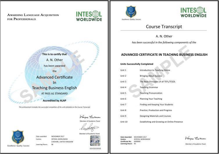 Advanced Certificate in Teaching Business English