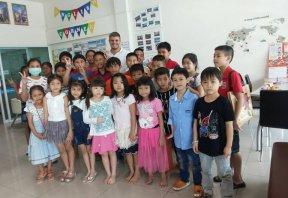 Teacher and children